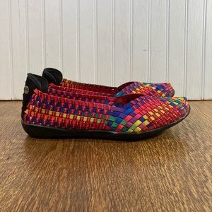 Bernie Mev. Woven Multi Color Flats Women's Size 8